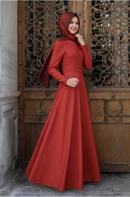 Korsajlı Elbise - Kiremit - Pınar Şems