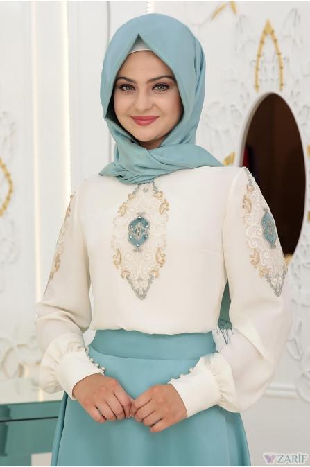 Deniz Etek Gömlek Takım Mint - Pınar Şems