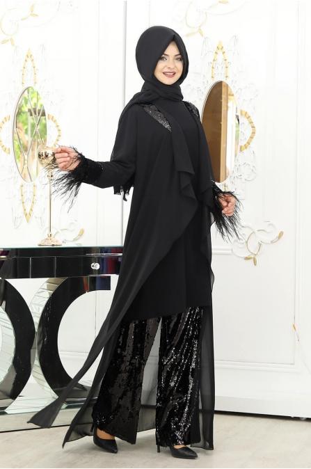 Nilüfer 3'lü Takım - Siyah - Pınar Şems