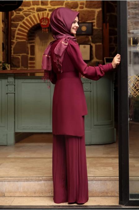 Piliseli Pantolonlu Takım - Fuşya - Pınar Şems