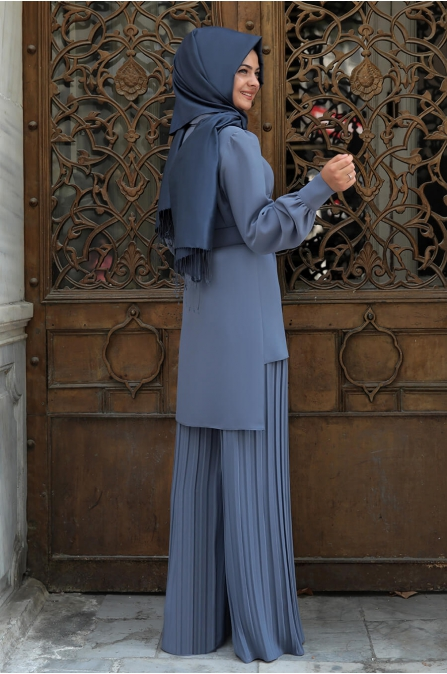 Piliseli Pantolonlu Takım - İndigo - Pınar Şems