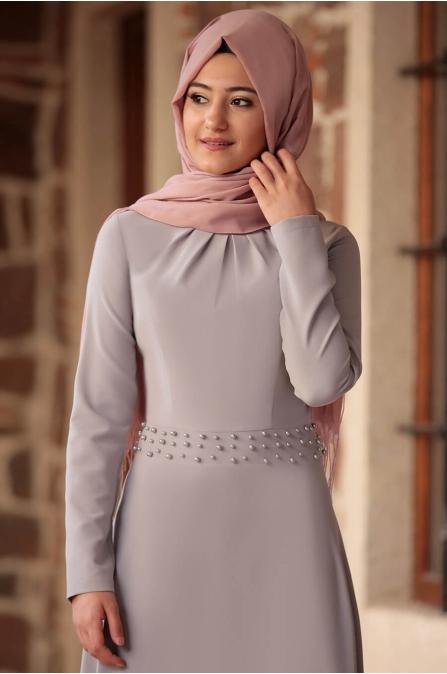 Sezen İncili Elbise Lila - Rabeysa