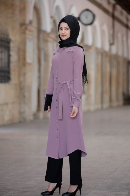 Hira Tunik Pantolon Takım - Lila - Rabeysa