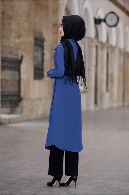 Hira Tunik Pantolon Takım - Saks - Rabeysa