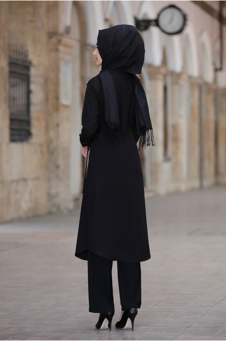 Hira Tunik Pantolon Takım - Siyah - Rabeysa