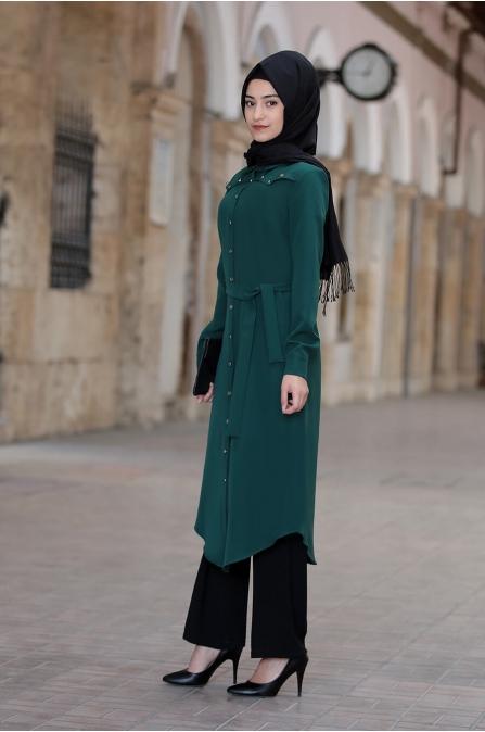 Hira Tunik Pantolon Takım - Zümrüt - Rabeysa