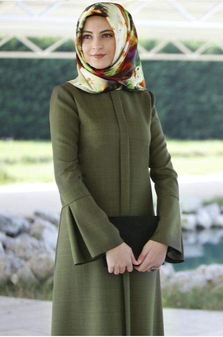 Rabia Şamlı Erva Patlı Elbise Haki