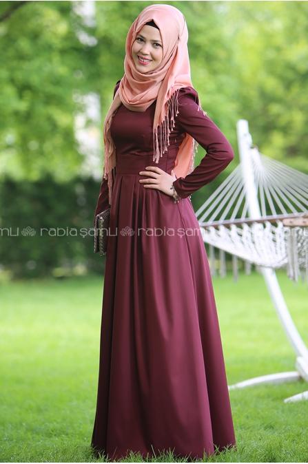 Rose Elbise Bordo - Rabia Şamlı