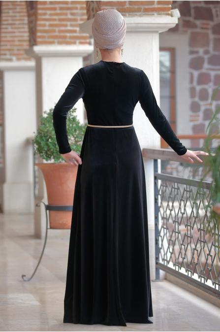 Ranazenn - Kadife Firuze Abiye - Siyah
