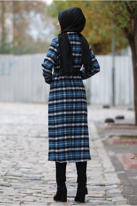 Asmira Kareli Ceket - Mavi - Rana Zen