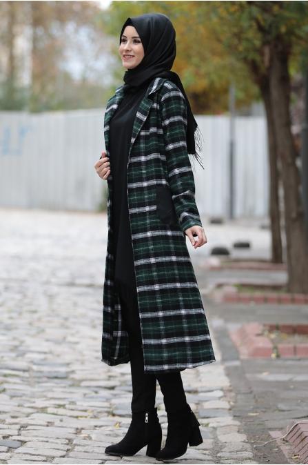 Asmira Kareli Ceket - Yeşil - Rana Zen