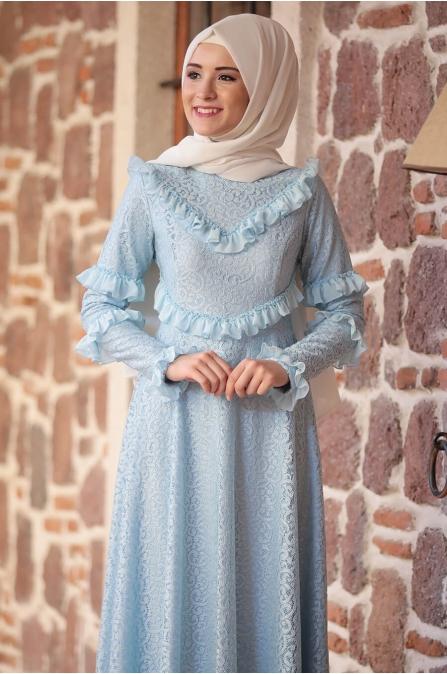 Alya Dantel Elbise - Bebe Mavisi - Rana Zen
