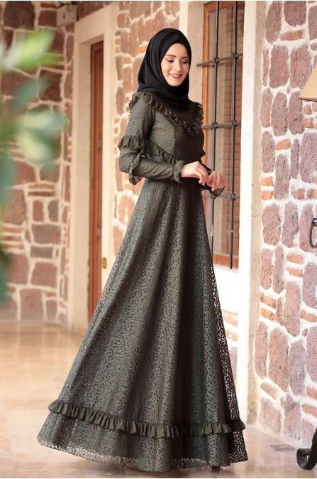 Alya Dantel Elbise - Haki - Rana Zen