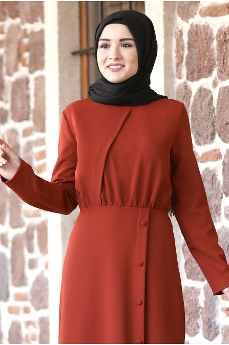 Arzu Tesettür Elbise - Kiremit