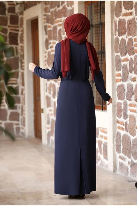 Arzu Tesettür Elbise - Lacivert