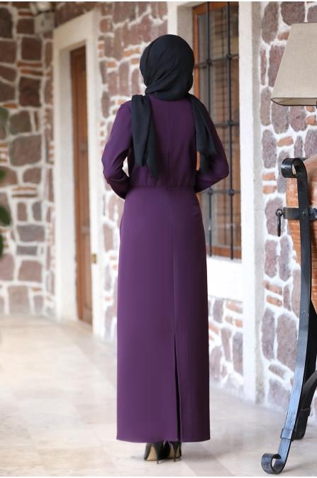 Arzu Tesettür Elbise - Mürdüm