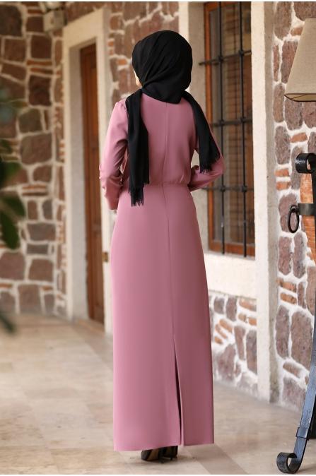 Arzu Tesettür Elbise - Pudra