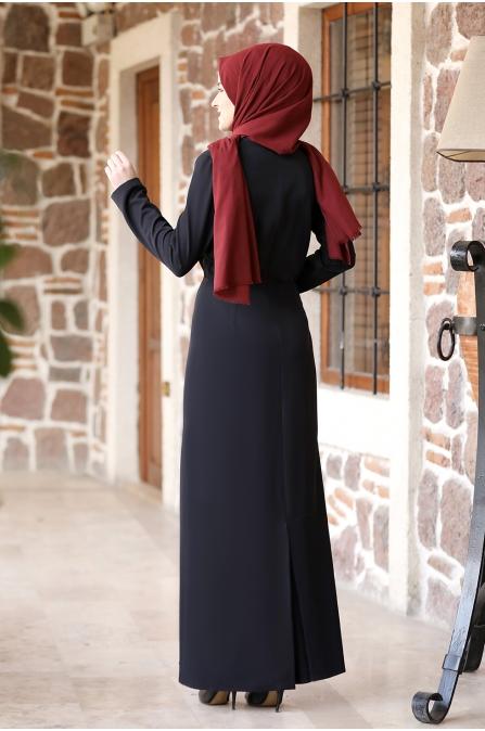 Arzu Tesettür Elbise - Siyah