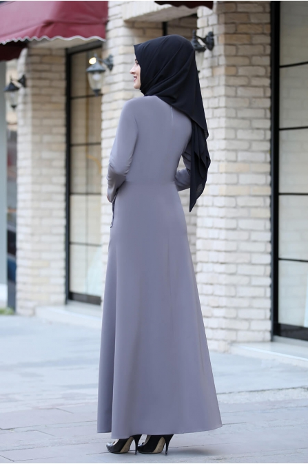 Başak Elbise - Gri - Rana Zen