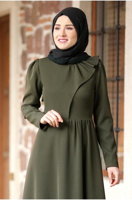 Begüm Tesettür Elbise - Haki