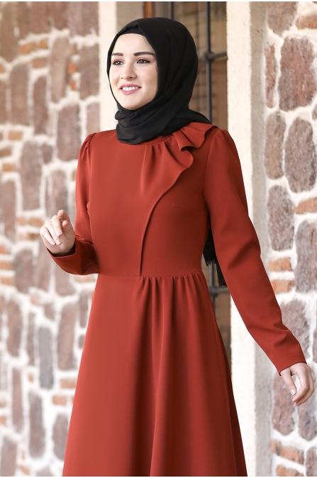 Begüm Tesettür Elbise - Kiremit