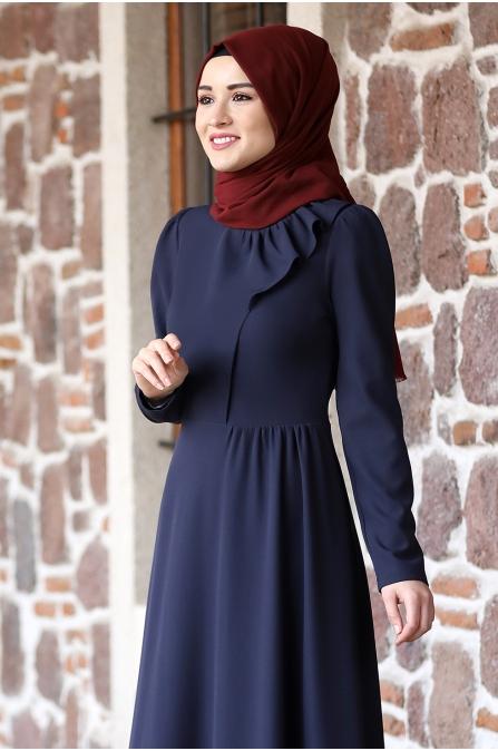 Begüm Tesettür Elbise - Lacivert