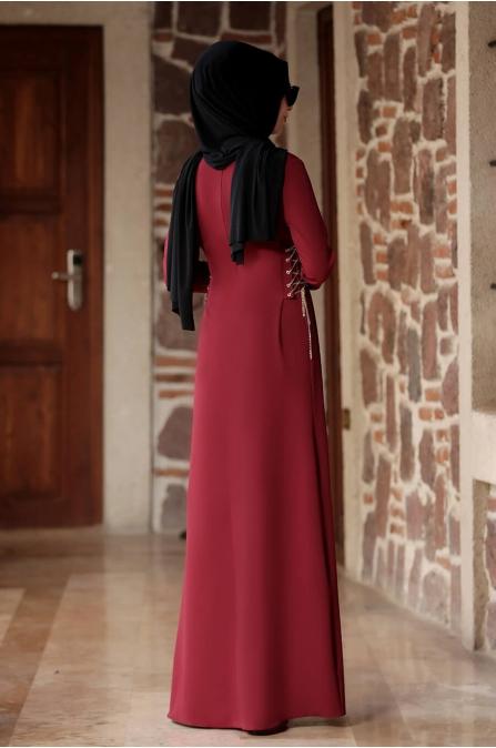 Beste Elbise - Bordo - Rana Zen