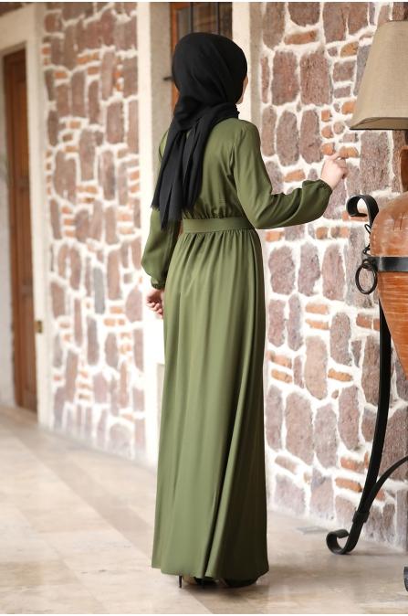 Ceren Tesettür Elbise - Haki
