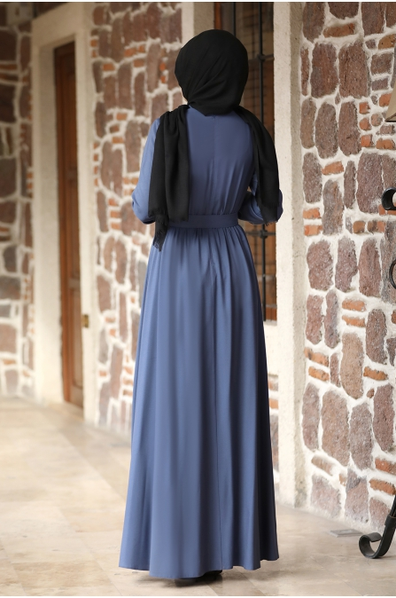 Ceren Tesettür Elbise - İndigo