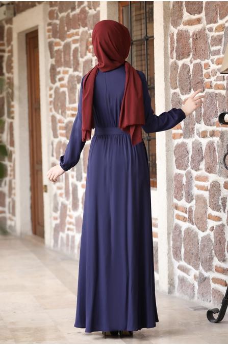 Ceren Tesettür Elbise - Lacivert