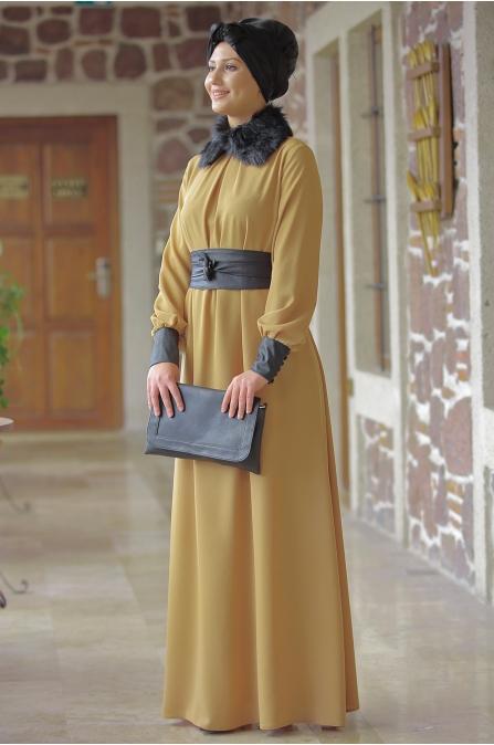 Ranazenn - Deri Detaylı Elbise - Hardal