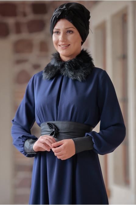 Ranazenn - Deri Detaylı Elbise - Lacivert