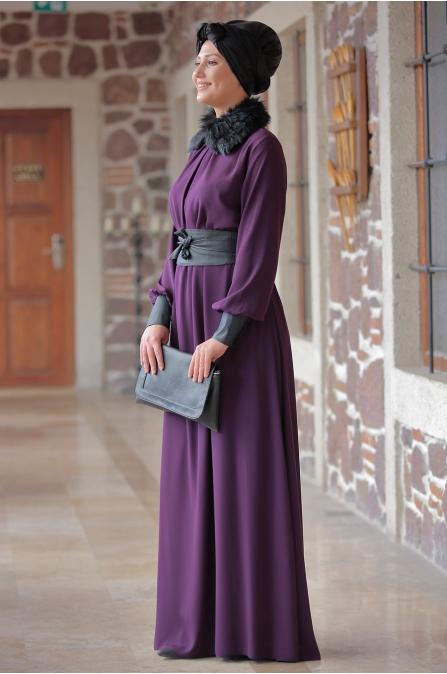 Ranazenn - Deri Detaylı Elbise - Mürdüm