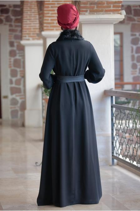 Ranazenn - Deri Detaylı Elbise - Siyah