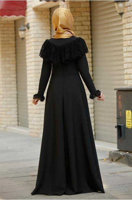 Firuze Dantel Elbise  - Rana Zen - Siyah