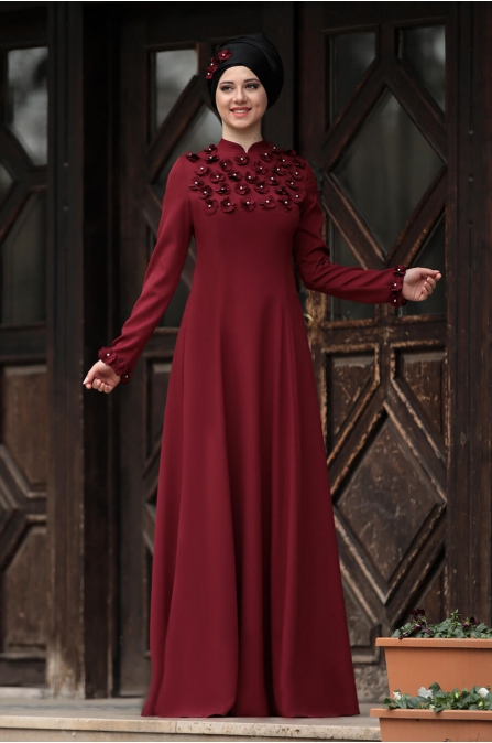 Günçiçek Elbise - Bordo - Rana Zen