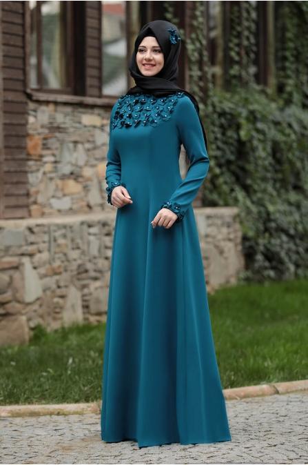 Günçiçek Elbise - Petrol - Rana Zen