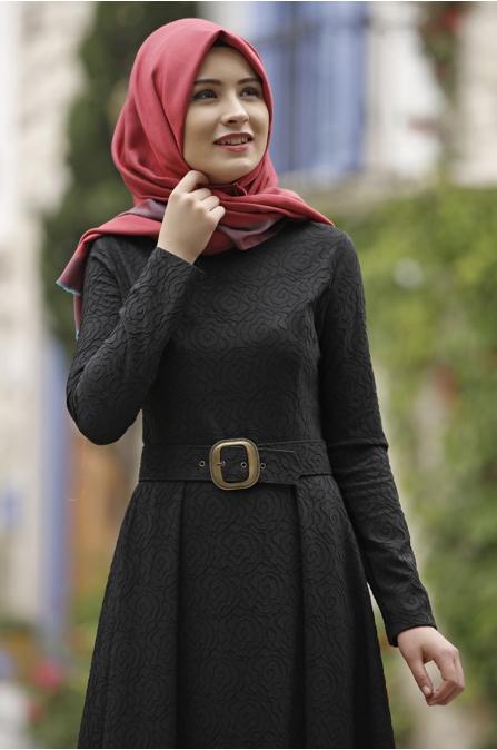 Rana Zen - Jakar Gül Elbise - Siyah