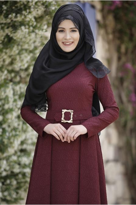 Rana Zen - Jakar Gül Elbise - Vişne