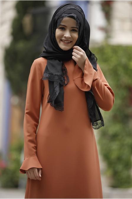 Rana Zen - Kalem Elbise - Kiremit