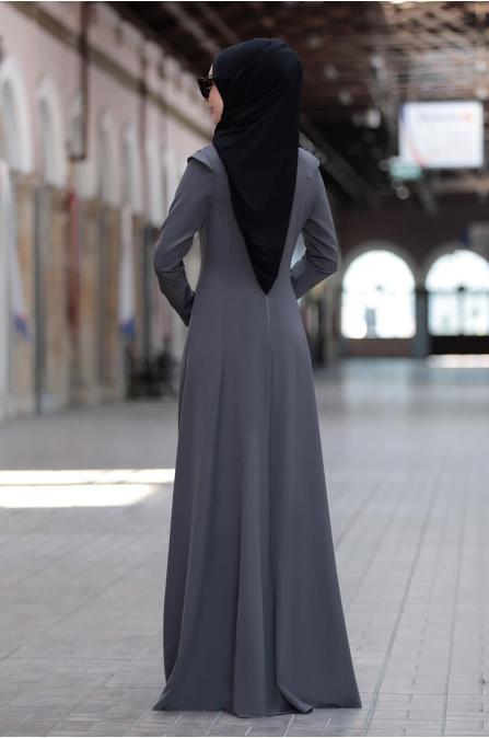 Kumsal Elbise - Gri - Rana Zen