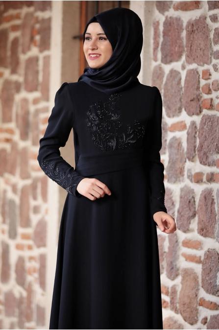 Nakışlı Elbise Lacivert - Rana Zen