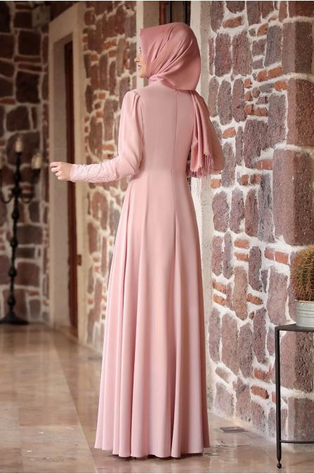 Nakışlı Elbise Pudra - Rana Zen