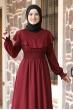 Nazar Pelerinli Beli Büzgülü Tesettür Elbise - Bordo