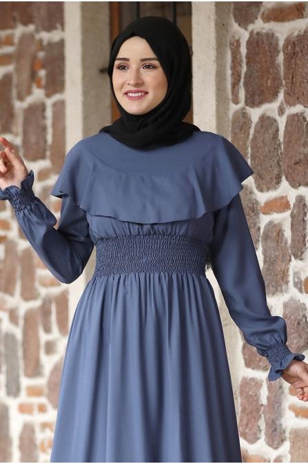 Nazar Pelerinli Beli Büzgülü Tesettür Elbise - İndigo