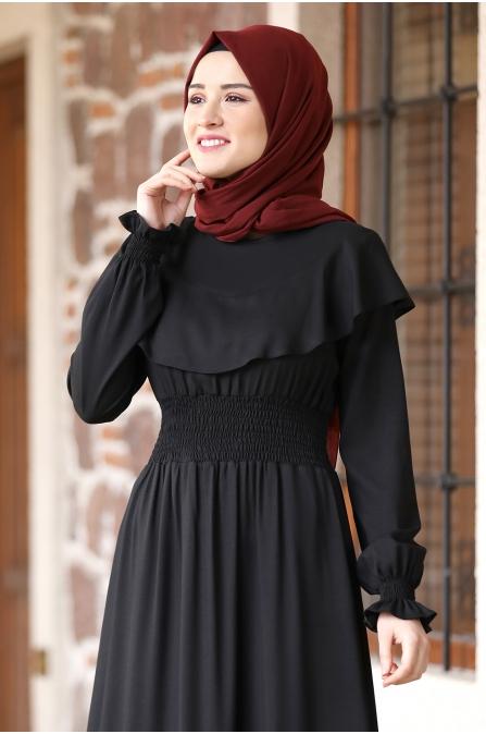 Nazar Pelerinli Beli Büzgülü Tesettür Elbise - Siyah