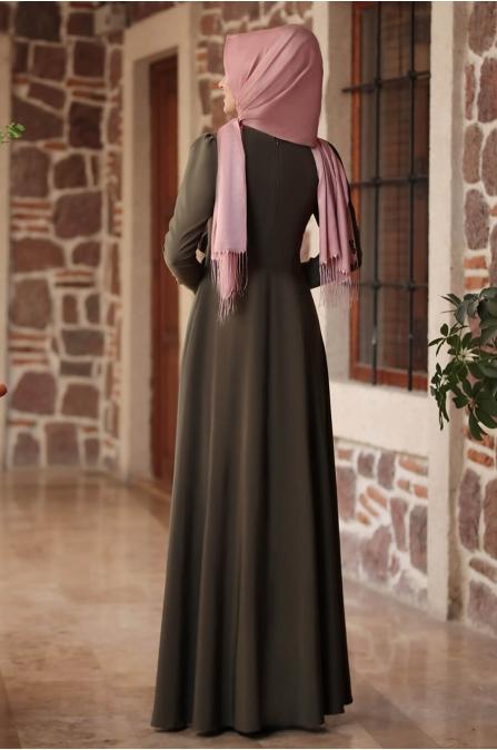 Nervürlü Elbise - Haki - Rana Zen