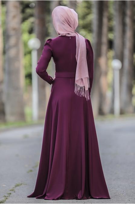 Nervüllü Zozan Elbise - Mürdüm - Rana Zen