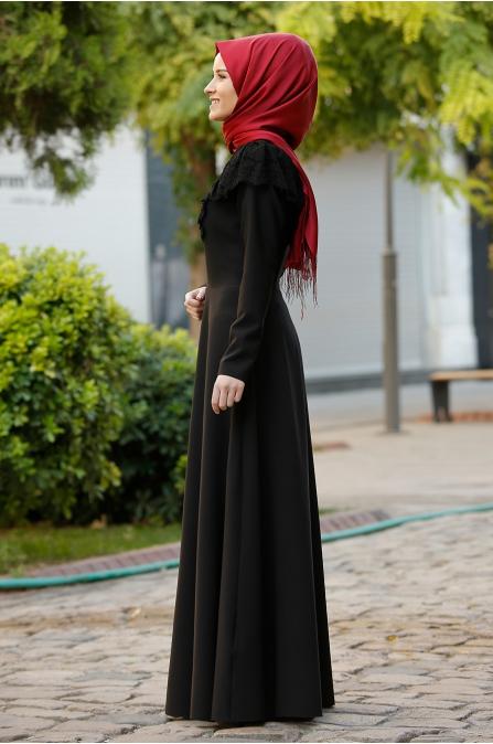 Neva Dantel Elbise - Siyah - Rana Zen