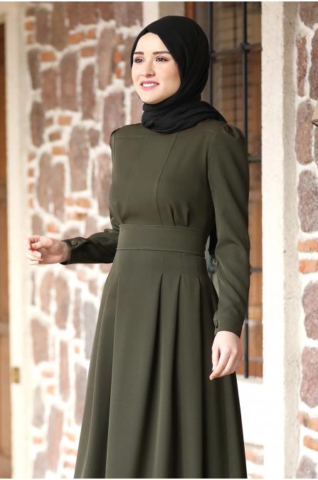 Öykü Tesettür Elbise - Haki